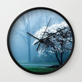 Early Morning Foggy Tree Wall Clock
