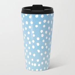 White Dots Polka dots on Aqua Teal Background - Mix & Match Travel Mug