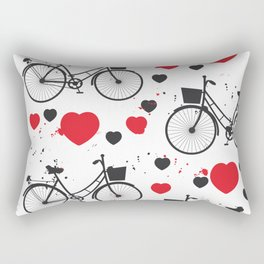 seamless pattern black bike and red heart on white background. Vector illustration Rectangular Pillow