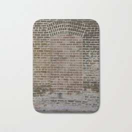 A Doorway in a Chicago Alley shows different brick and mortar patterns and a masonry arch Bath Mat
