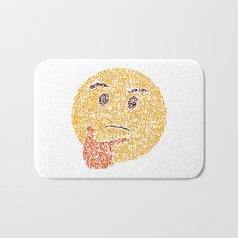 Emoji Calligraphy Art :Thinking face Bath Mat