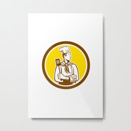 Chef Cook Holding Spatula Side View Circle Metal Print