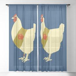 Decorated war chicken Sheer Curtain