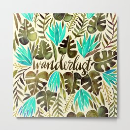 Tropical Wanderlust – Turquoise & Olive Metal Print