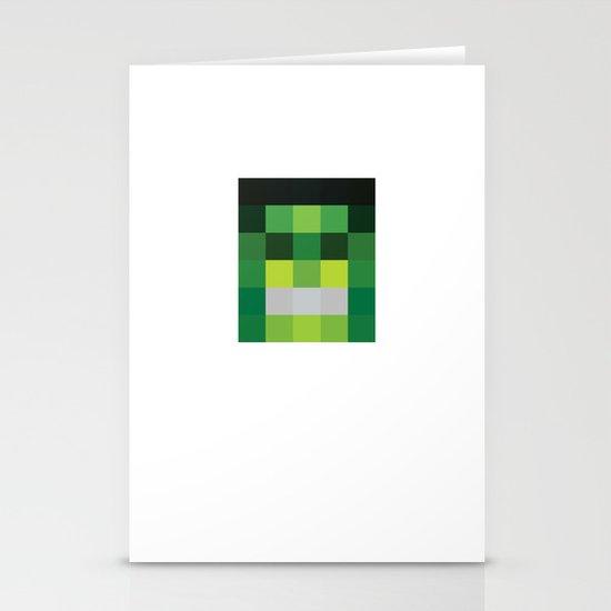 hero pixel green black Stationery Cards