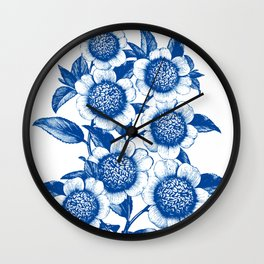 Blue large floral pattern Wall Clock