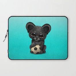 Black Panther Cub With Football Soccer Ball Laptop Sleeve