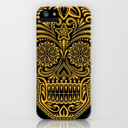 Intricate Yellow and Black Day of the Dead Sugar Skull iPhone Case