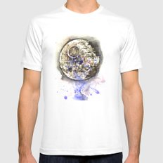 Star Wars Art Painting The Death Star Mens Fitted Tee MEDIUM White