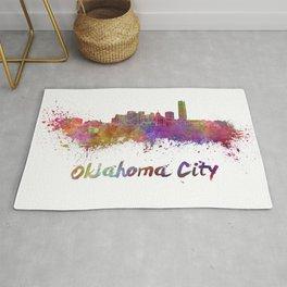 Oklahoma City skyline in watercolor Rug