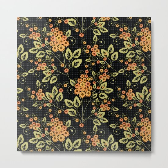 Bright floral pattern on a black background. Metal Print