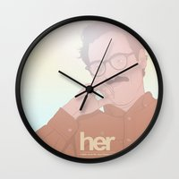 her art Wall Clocks featuring Her by Borja Espasa