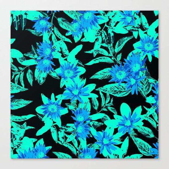 Bright Blue Vintage Blooms Canvas Print
