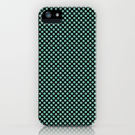 Black and Lucite Green Polka Dots iPhone Case