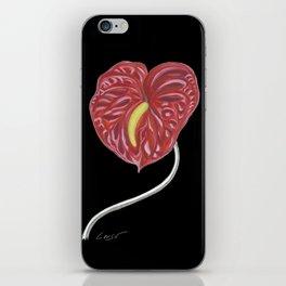 Anthurium 01b Botanical Flower * Red Heart Valentine iPhone Skin