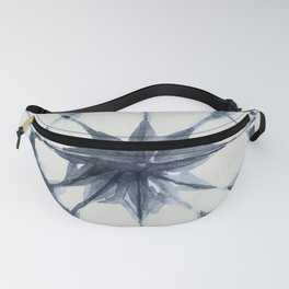 Shibori Starburst Indigo Blue on Lunar Gray Fanny Pack