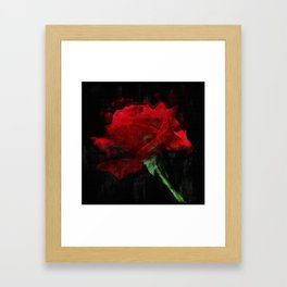 Red Rose Impressionist Painting Framed Art Print