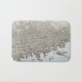 Vintage Pictorial Map of New Bedford MA (1876) Bath Mat