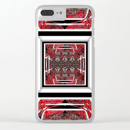 NUMBER 221 RED BLACK GRAY WHITE PATTERN Clear iPhone Case