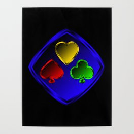 Vector set of designations of cards and suits in poker in metal frame on foil. Red green blue and ye Poster