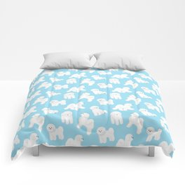 Bichon Frise Pattern (Blue Background) Comforters
