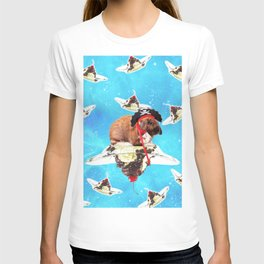 Pirate Bunny Rabbit On Sundae In Space T-shirt