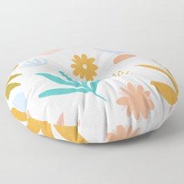 Retro Flower Art Floor Pillow