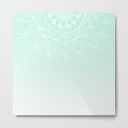 Elegant white and mint mandala confetti design Metal Print