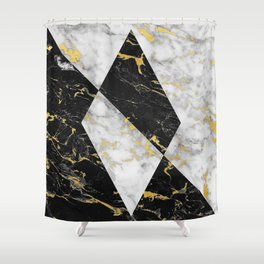 Diamond // Gold Flecked Black & White Marble Shower Curtain