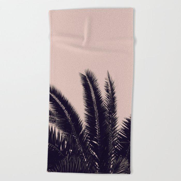 Festival Summer Palm Tree Rose Black Beach Towel By Monikastrigel