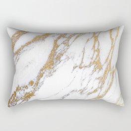 Elegant Creamy White Marble With Luscious Gold Veins Rectangular Pillow