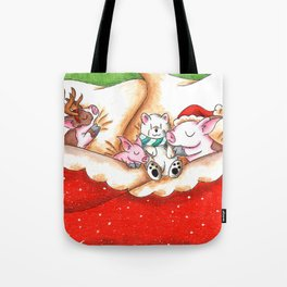 Snuggled in for Xmas Eve Tote Bag