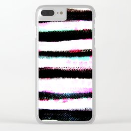 pink, green and black stripes Clear iPhone Case