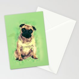 Cute Pug dog on gentle green Stationery Cards