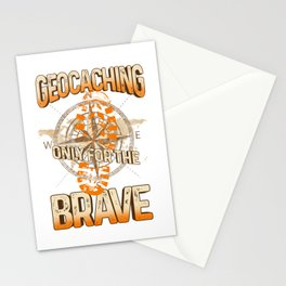 Geocaching Only for the Brave Geocache Outdoor Adventure Stationery Cards