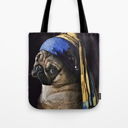 Pug with a Pearl Earring Tote Bag