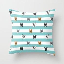 French Bulldog stripes Throw Pillow