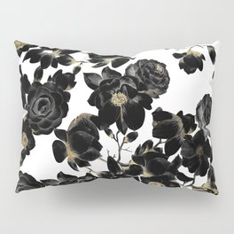 Modern Elegant Black White and Gold Floral Pattern Pillow Sham