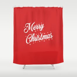 Merry Christmas with Snow Flakes on Red Background Shower Curtain