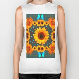 Blue Butterflies Golden Sunflowers Teal Art Biker Tank