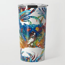 Bright Colorful Crab Collage Art by Sharon Cummings Travel Mug