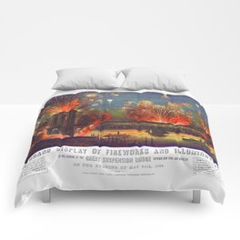 NEW YORK FIREWORKS city old map Father Day art print poster Comforters
