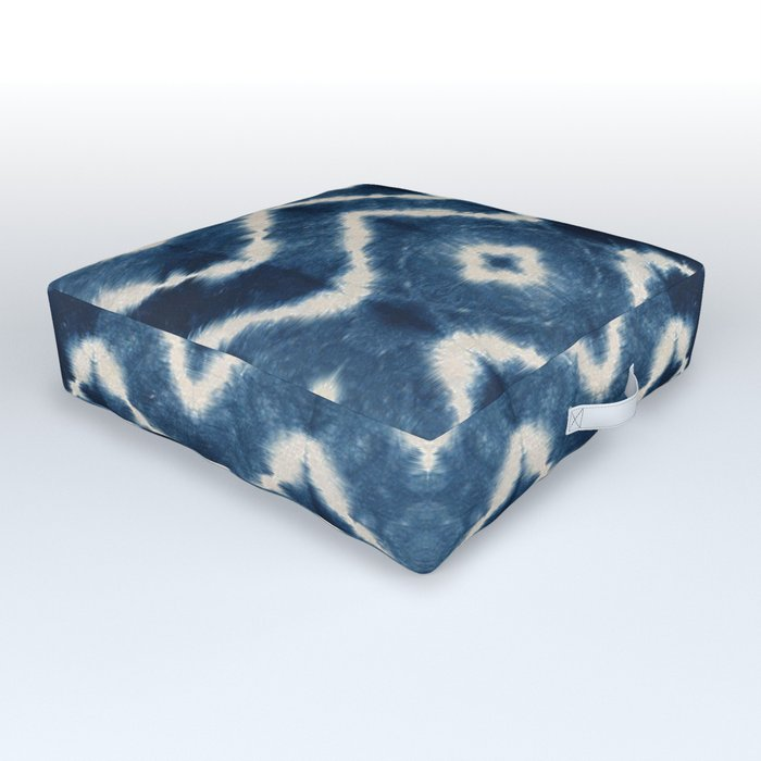 Shibori, tie dye, chevron print Outdoor Floor Cushion