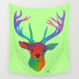Rainbow Deer on Light Green Wall Tapestry