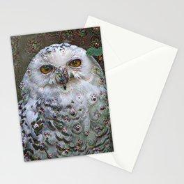 Dream Creatures, Snowy Owl, DeepDream Stationery Cards