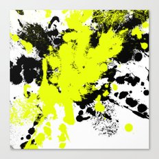 Surprise! Black and yellow abstract paint splat artwork Canvas Print