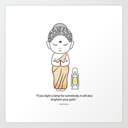 Buddha with lamp and quote Art Print