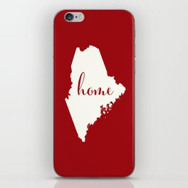Maine is Home - Red on White iPhone Skin