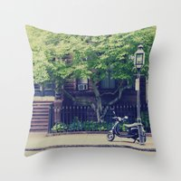 vespa Throw Pillows featuring Vespa by thirteesiks