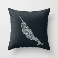 narwhal Throw Pillows featuring Narwhal by Jorge Garza